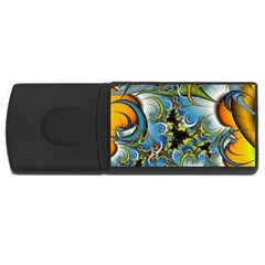 Fractal Background With Abstract Streak Shape USB Flash Drive Rectangular (4 GB) by Simbadda