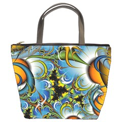 Fractal Background With Abstract Streak Shape Bucket Bags by Simbadda