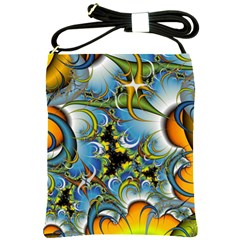 Fractal Background With Abstract Streak Shape Shoulder Sling Bags by Simbadda