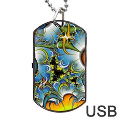 Fractal Background With Abstract Streak Shape Dog Tag USB Flash (One Side)