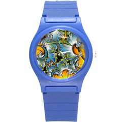Fractal Background With Abstract Streak Shape Round Plastic Sport Watch (s) by Simbadda