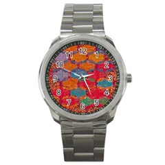 Abstract Art Pattern Sport Metal Watch by Simbadda