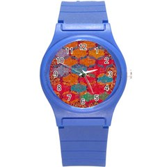 Abstract Art Pattern Round Plastic Sport Watch (s) by Simbadda