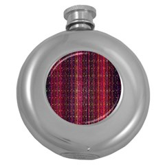 Colorful And Glowing Pixelated Pixel Pattern Round Hip Flask (5 Oz) by Simbadda