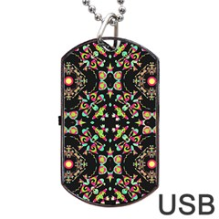 Abstract Elegant Background Pattern Dog Tag Usb Flash (one Side) by Simbadda