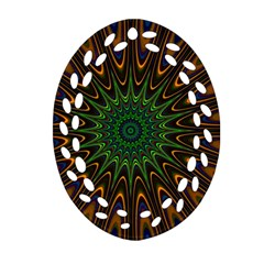 Vibrant Colorful Abstract Pattern Seamless Oval Filigree Ornament (two Sides) by Simbadda