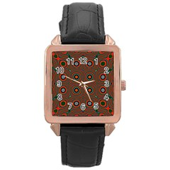 Vibrant Pattern Seamless Colorful Rose Gold Leather Watch  by Simbadda