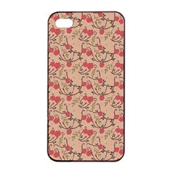 Vintage Flower Pattern  Apple Iphone 4/4s Seamless Case (black) by TastefulDesigns