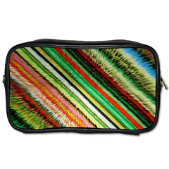 Colorful Stripe Extrude Background Toiletries Bags by Simbadda