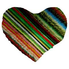 Colorful Stripe Extrude Background Large 19  Premium Flano Heart Shape Cushions by Simbadda