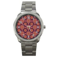Abstract Seamless Mandala Background Pattern Sport Metal Watch by Simbadda