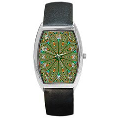 Vibrant Seamless Pattern  Colorful Barrel Style Metal Watch by Simbadda