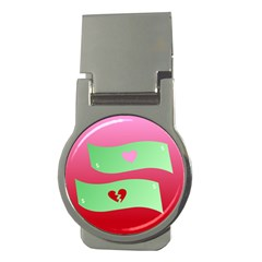 Money Green Pink Red Broken Heart Dollar Sign Money Clips (round)  by Alisyart