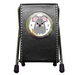 Mouse Grey Face Pen Holder Desk Clocks by Alisyart