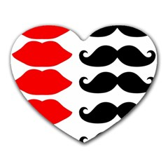 Mustache Black Red Lips Heart Mousepads by Alisyart