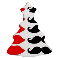 Mustache Black Red Lips Christmas Tree Ornament (two Sides) by Alisyart