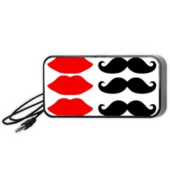 Mustache Black Red Lips Portable Speaker (black) by Alisyart
