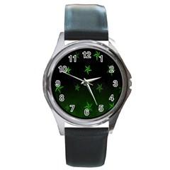 Nautical Star Green Space Light Round Metal Watch