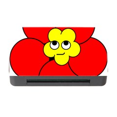 Poppy Smirk Face Flower Red Yellow Memory Card Reader With Cf by Alisyart