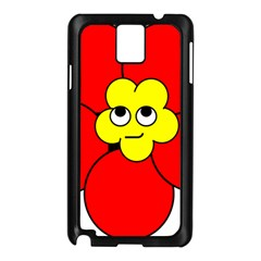 Poppy Smirk Face Flower Red Yellow Samsung Galaxy Note 3 N9005 Case (black) by Alisyart