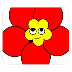 Poppy Smirk Face Flower Red Yellow Double Sided Flano Blanket (small)  by Alisyart