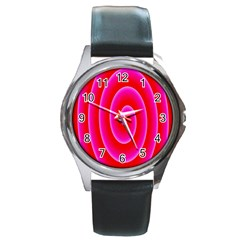 Pink Hypnotic Background Round Metal Watch by Simbadda