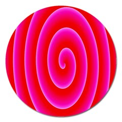 Pink Hypnotic Background Magnet 5  (round) by Simbadda