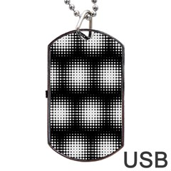 Black And White Modern Wallpaper Dog Tag Usb Flash (two Sides) by Simbadda