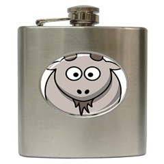 Goat Sheep Animals Baby Head Small Kid Girl Faces Face Hip Flask (6 Oz) by Alisyart