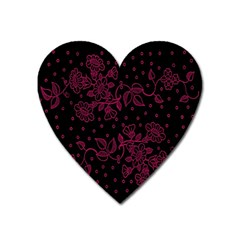 Floral Pattern Background Heart Magnet by Simbadda