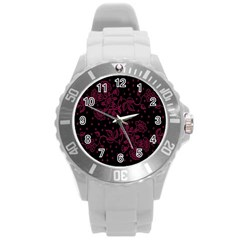 Floral Pattern Background Round Plastic Sport Watch (l) by Simbadda