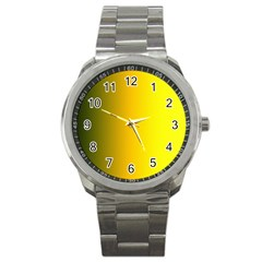 Yellow Gradient Background Sport Metal Watch by Simbadda