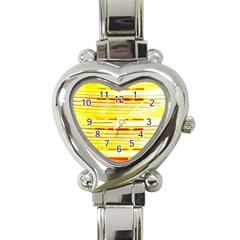 Yellow Curves Background Heart Italian Charm Watch by Simbadda