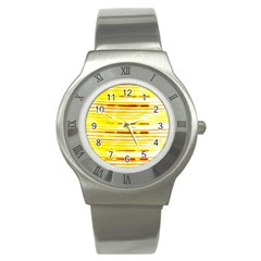 Yellow Curves Background Stainless Steel Watch by Simbadda
