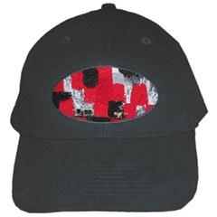 Red Black Gray Background Black Cap by Simbadda