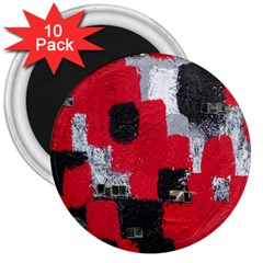 Red Black Gray Background 3  Magnets (10 Pack)  by Simbadda