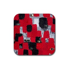 Red Black Gray Background Rubber Square Coaster (4 Pack)  by Simbadda