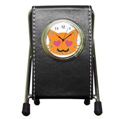Smile Face Cat Orange Heart Love Emoji Pen Holder Desk Clocks by Alisyart