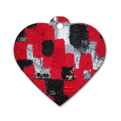 Red Black Gray Background Dog Tag Heart (two Sides) by Simbadda