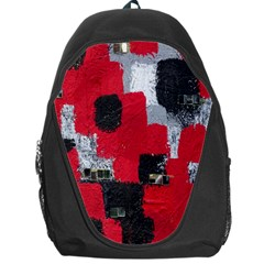 Red Black Gray Background Backpack Bag by Simbadda