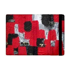 Red Black Gray Background Apple Ipad Mini Flip Case by Simbadda