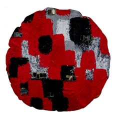 Red Black Gray Background Large 18  Premium Flano Round Cushions by Simbadda