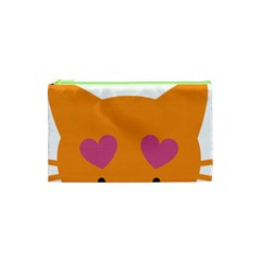 Smile Face Cat Orange Heart Love Emoji Cosmetic Bag (xs) by Alisyart