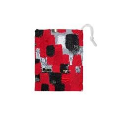Red Black Gray Background Drawstring Pouches (xs)  by Simbadda