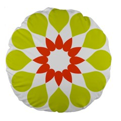 Tikiwiki Abstract Element Flower Star Red Green Large 18  Premium Flano Round Cushions by Alisyart
