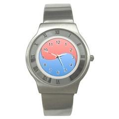 Taekwondo Sign Red Blue Stainless Steel Watch by Alisyart