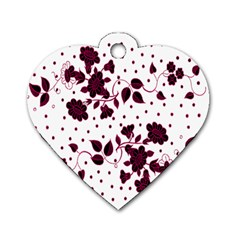 Floral Pattern Dog Tag Heart (one Side) by Simbadda