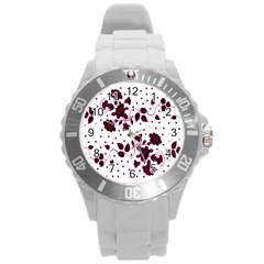 Floral Pattern Round Plastic Sport Watch (l) by Simbadda