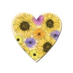Multi Flower Line Drawing Heart Magnet by Simbadda
