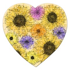 Multi Flower Line Drawing Jigsaw Puzzle (heart) by Simbadda